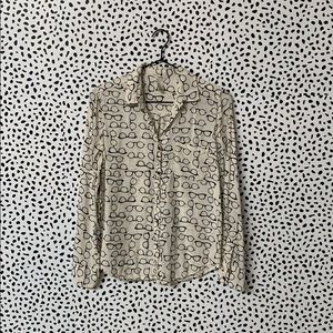 Forever 21 Glasses Print Button Down